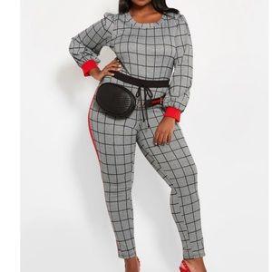 PLAID W/ RED STRIPE MATCHING SET- top & leggings